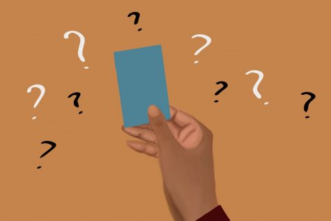 An artistic illustration by senior Leslie Castaneda. The illustration depicts a person of color holding a literal card surrounded by many question marks, symbolizing how senior Celeste Ramirez grapples with the concept of a