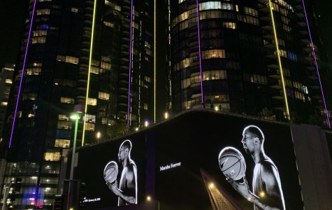 A screen across the street from the Staples Center on Sunday, Jan. 26 paid tribute to NBA star Kobe Bryant. Bryant, along with his 13 year old daughter and seven others were killed in a helicopter crash.