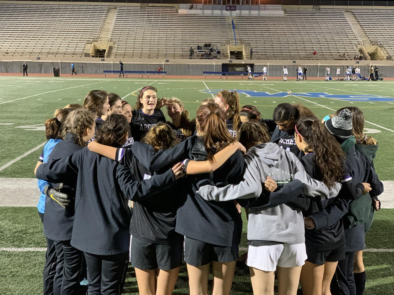 Captain Riley Adams gives a half time pep talk during the Archer varsity soccer game against Oakwood hosted at Santa Monica College. Archer beat Oakwood 7-0.