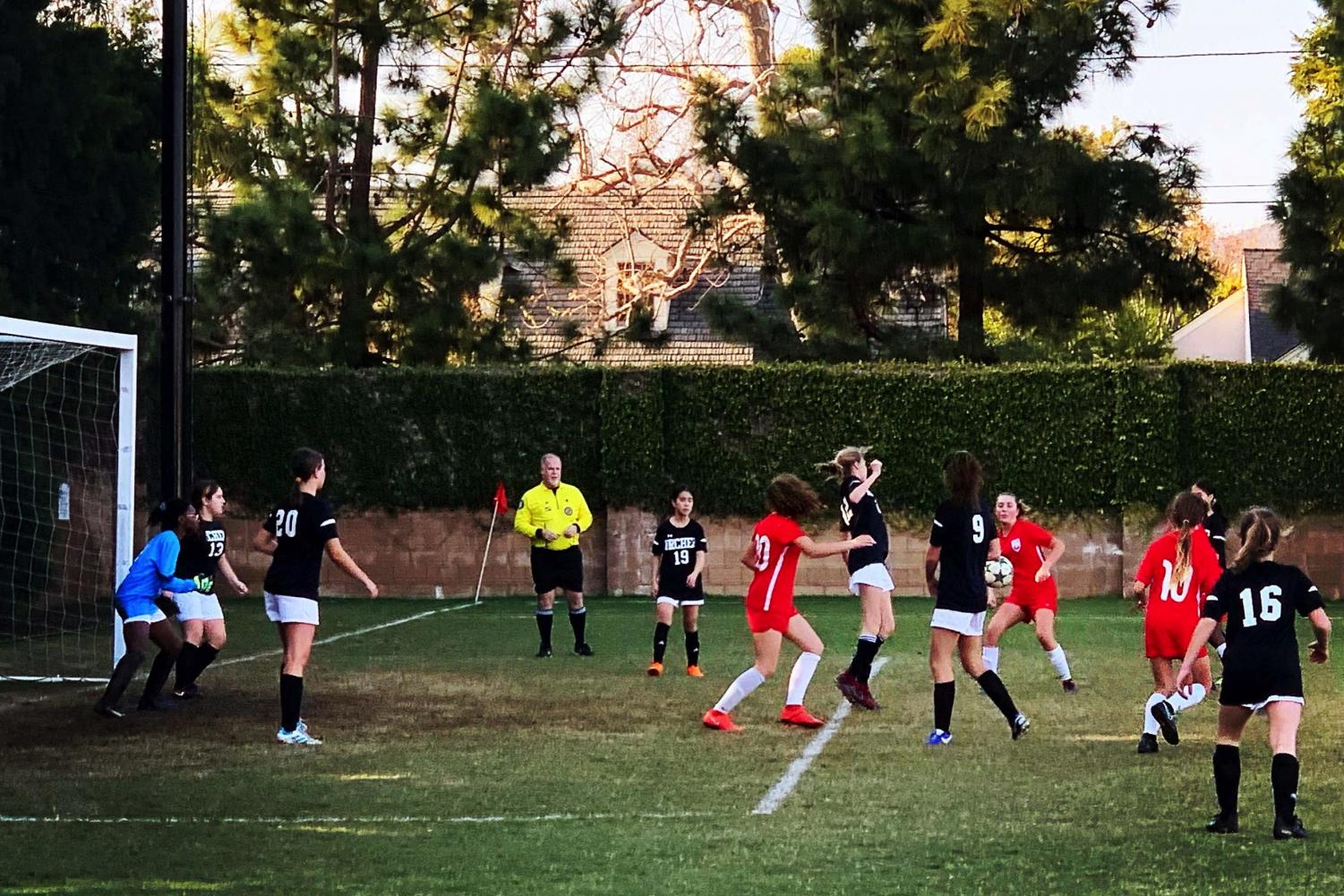 The middle school soccer team plays a game against Crossroads on Jan. 14. The game took place on campus and the team lost.