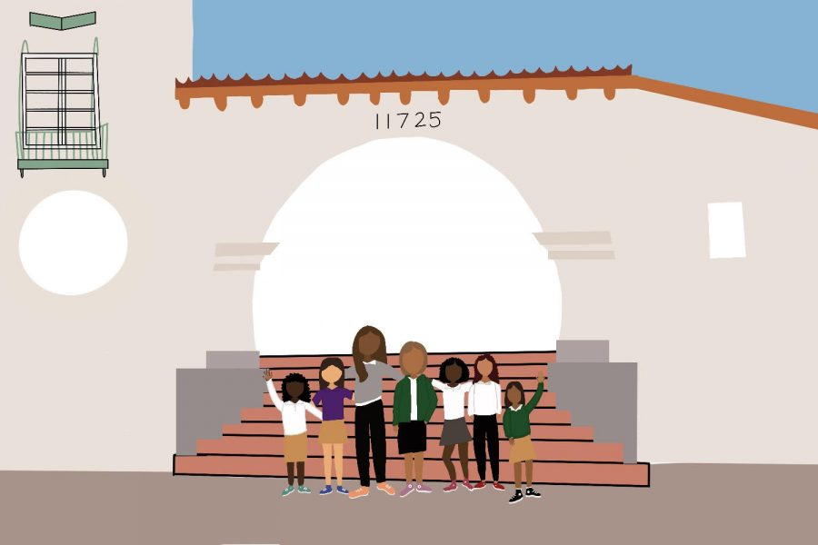 An+artistic+illustration+by+Leslie+Castaneda.+The+graphic+represents+students+of+color+standing+in+front+of+the+entrance+of+Archer.