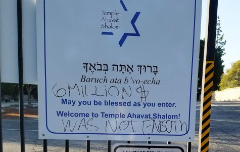On Temple Ahavat Shalom's welcome sign, the phrase