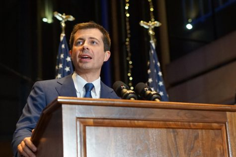 Pete Buttigieg delivers his final campaign remarks in South Bend, Indiana, following a poor showing in the South Carolina primary. Buttigieg