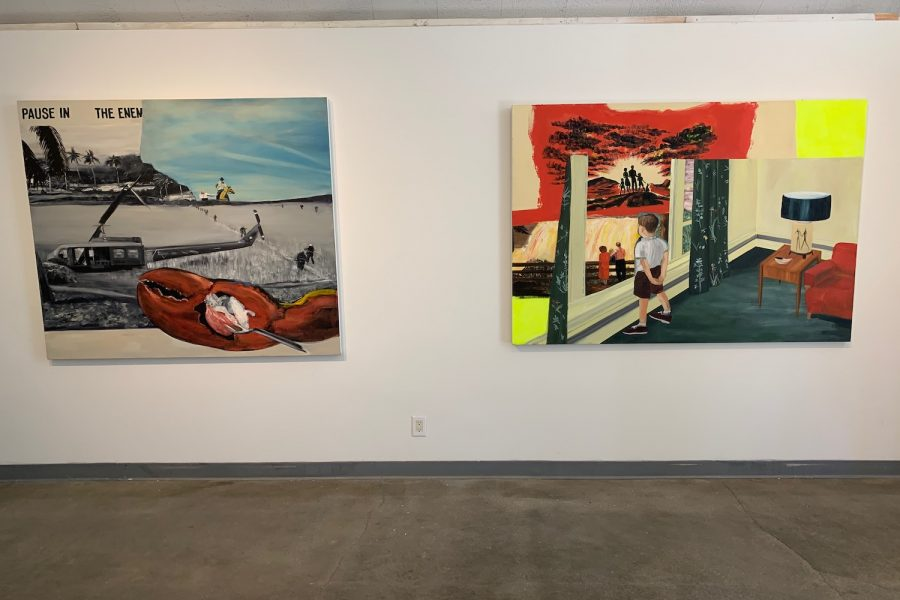 The paintings in the gallery were conveying shared American memories throughout history.