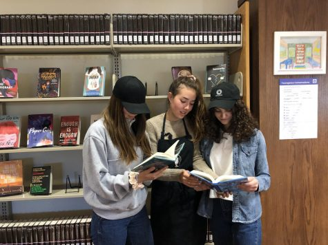 "Seniors Sydney Cort, Zoey Cort and Beechie Spiller dress up as characters from the television series ""You"" for TV Tuesday. TV Tuesday inspired students to dress up as characters from television series and movies."