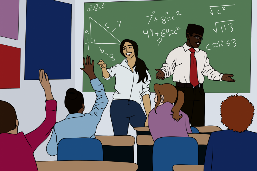 This illustration depicts two teachers of color in a classroom with eager students. As of now 23% of Archer's faculty identify a POC. Digital illustration: Molly Solowitz.