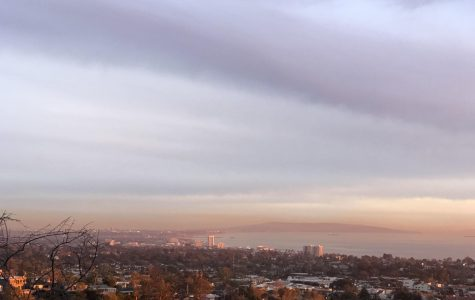 From Temescal Canyon hiking trail in the Pacific Palisades, a layer of smog and air pollution can be seen looming over Los Angeles' coastal cities.
