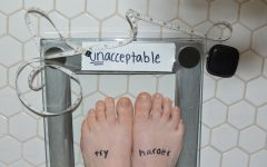 In this photo staged by junior Emily Eshel, a girl stands on a scale that reads