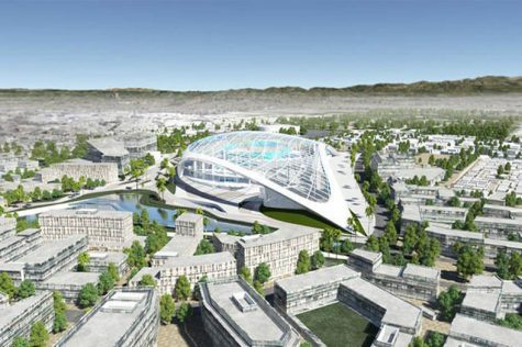 The vision for the Morningside Park area of Inglewood features a new stadium, the new Forum and a new shopping mall. The Los Angeles Clippers are also set to open a new stadium in the area. This artistic rendering of the stadium is on Mark Ridley-Thomas, Supervisor of the Second District