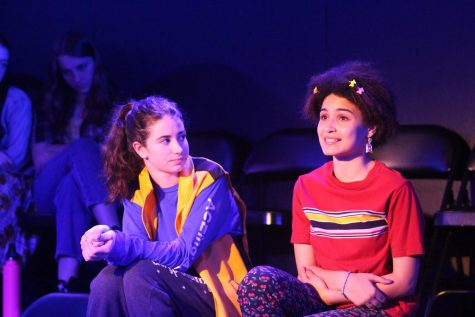 Sophomore Glorianna Chase takes the stage for a tech rehearsal show while Langdon Janos volunteers to fill in as an interactive audience member. In total, the Upper School play had five shows, all keeping within the 50 people or under order.