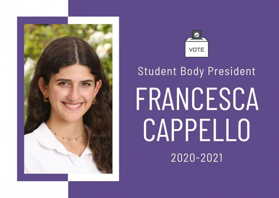 The+rising+upper+school+elected+Francesca+Cappello+as+next+year%27s+Student+Body+President.+