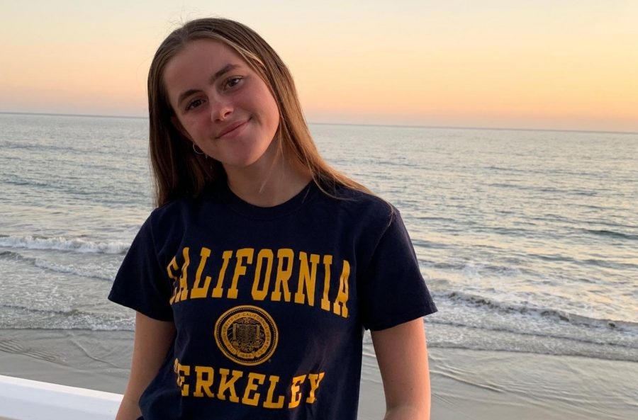 Senior+Charley+Griffiths+wears+a+University+of+California%2C+Berkeley+t-shirt%2C+where+she+has+committed+for+Division+1+rowing+next+year.+Griffiths+has+been+a+coxswain+for+four+years.+Photo+courtesy+of+Griffiths.