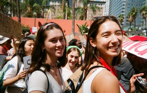 Seniors Norah Adler and Addison Lee at the Global Climate Strike earlier this school year.