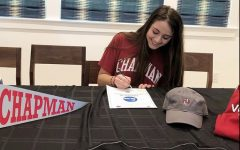 With over 100 community members watching over Zoom, senior Amelia Nathanson officially signed to play volleyball in college.
