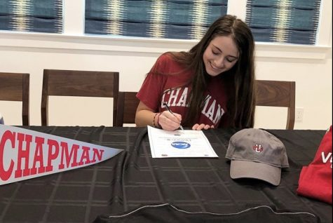 "With over 100 community members watching over Zoom, senior Amelia Nathanson officially signed to play volleyball in college. ""It means the world to me to be able to come together and celebrate something that"