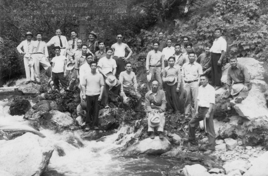 Victims of the Japanese Internment gather for an anniversary picnic. These men were interned in a camp in Kooskia, Idaho, and were forced to construct a highway. This story is one of many untold Asian/Pacific Islander narratives which must be recognized during Asian Pacific Islander Heritage Month.