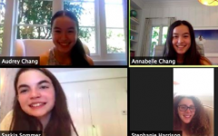 Sixth grader Saskia Sommer and her tennis teammates meet on Zoom during the first week of the Panther Challenge. After traditional spring sports were cancelled, athletes shifted to a virtual model to promote psychical fitness, mental health, and team connectivity.