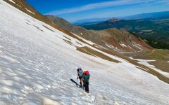 Junior Lauren Robson uses crampons to hike up the snow on Wilson Peak in Colorado. Robson and her dad reached an elevation of 14,016 feet on this summit.