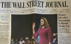 The Wall Street Journal cover page of Amy Coney Barrett's SCOTUS confirmation hearing. The Wall Street Journal is owned by Robert Murdoch, who also owns The New York Post and The Times of London and was the previous CEO of Fox News.