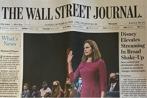 The Wall Street Journal cover page of Amy Coney Barrett