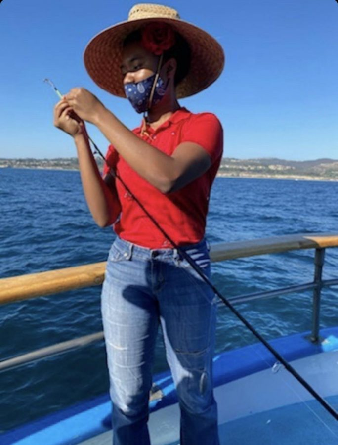 Archer Alum Lena Jones on a fishing trip down the California Coast. Jones deferred until 2021, and is working on cultivating