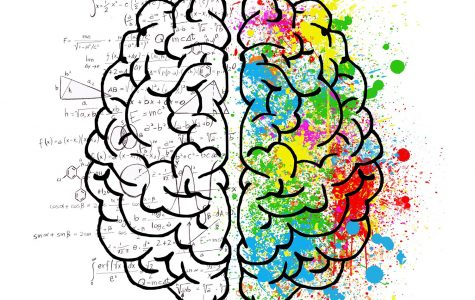 This image is of a divided mind. The left half is grey and filled with equations and numbers whereas the right half is covered in vivid splashes of colors representing the division between a mixed person's identity.