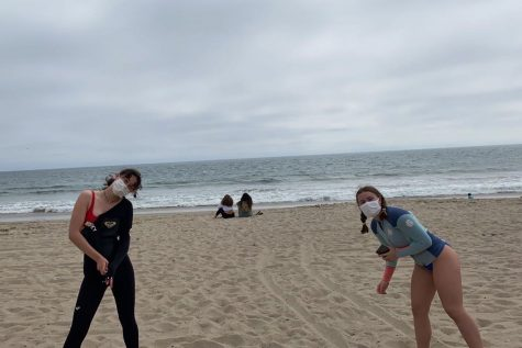 Seniors Gracey Wyles and Norah Adler socially distance while spending Labor Day at the beach in Santa Monica. Los Angeles County reached a record high temperature of 121 degrees over Labor Day weekend.