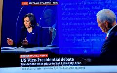 Senator Kamala Harris speaking during the BBC News coverage of the vice presidential debate. The debate took place at the University of Utah on Oct. 7, 2020.