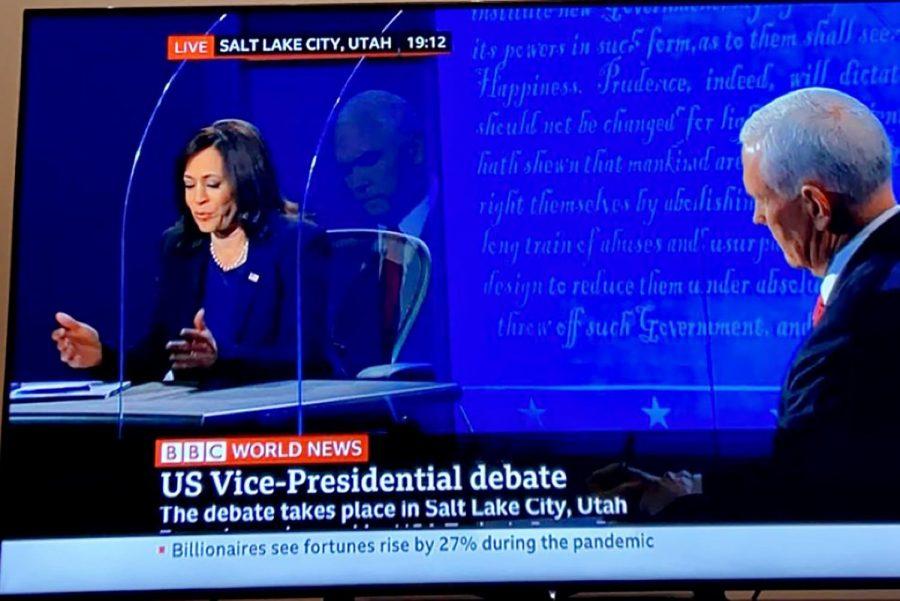 Senator Kamala Harris speaking during the BBC News coverage of the vice presidential debate. The debate took place at the University of Utah on Oct. 7, 2020.