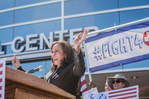 Senator Kamala Harris speaks at a health care rally in 2017.