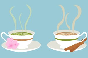 The left cup, filled with matcha, and the right cup, filled with chai tea, steaming before being enjoyed. Although Chloe and Grace often bicker about which drink is superior, they have finally found common ground and can agree that both are valid ways to enjoy morning-time.