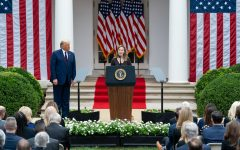 Amy Coney Barrett addresses the crowd after President Donald Trump announced his nomination of her for a Supreme Court Justice. The nomination event took place at the White House.