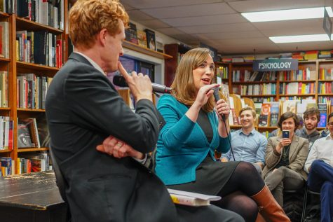 Sarah McBride speaks at an event at the Politics and Prose bookstore in Washington, D.C. On Nov. 3, 2020, McBride won a seat in Delaware
