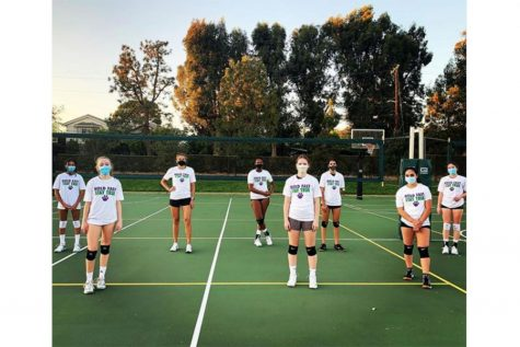 The volleyball team wears masks to practice on campus to maintain COVID-19 guidelines. Both the upper school volleyball and cross country teams have the opportunity to practice on campus as they started on Nov. 8 with their COVID-19 friendly training.