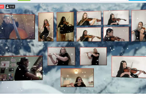 The middle school Orchestra performs a song during the Winter Concert. The musicians recorded two videos, one for audio and one for visual, which were then edited together and added to virtual background and streamed on Vimeo.