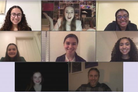 "Members of the Speech and Debate team join together on Zoom after a successful league tournament the last weekend in January. Five members collectively placed in six different categories leaving the team ""excited for future tournaments,"" as Admin Captain Rachel Azrialy wrote in an instagram caption on the Archer Speech and Debate Instagram account."