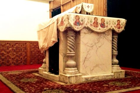 A marble alter sits at the front of a Coptic Orthodox church which is used in the Coptic faith. Every week, communion and the oil is prepared for the congregation and liturgies are performed within this room. This is considered one of the most sacred places in the entire church and has many restrictions upon entering.