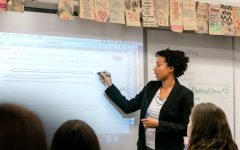 Samantha Hazell-O'Brien, who was recently appointed as Dean of Student Life, Equity and Inclusion for the 2021-2022 school year, teaches an English class at Marymount High School. Hazell-O'Brien is