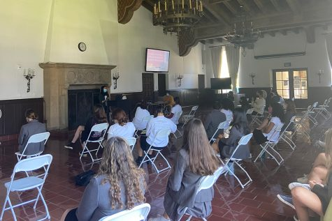 """Senior Kaitlyn Kim presents to her classmates and faculty on """"An Analysis of the Failures of the American Medical System for Women of Color."""" Kim"""