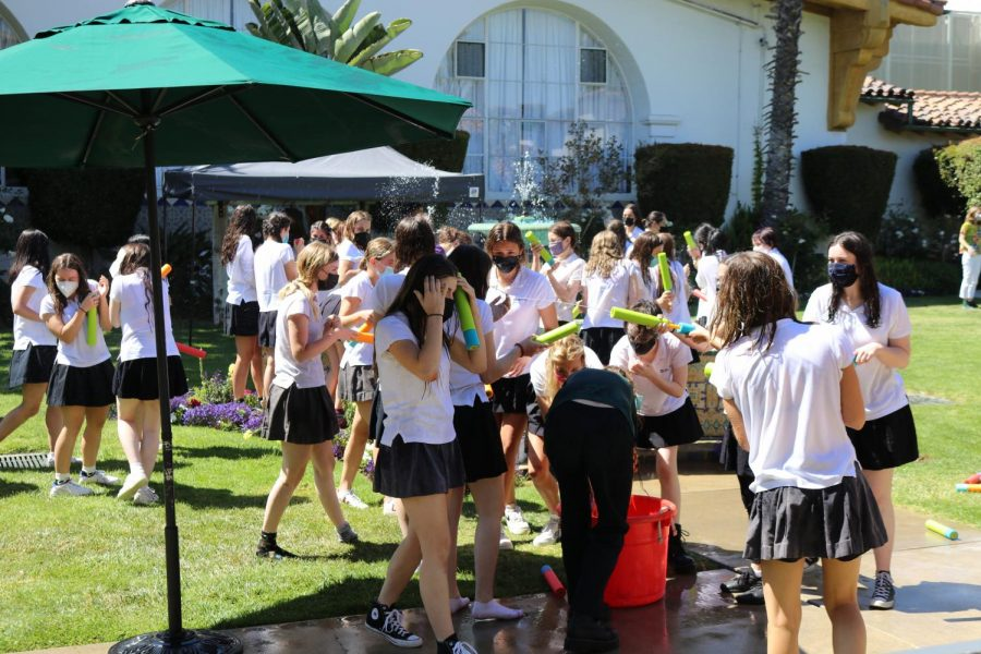 The week of May 24 was the seniors last week on campus. To celebrate, they ended Monday with a water battle to share some laughs and memories. This was a COVID-adapted version of the traditional fountain jump.