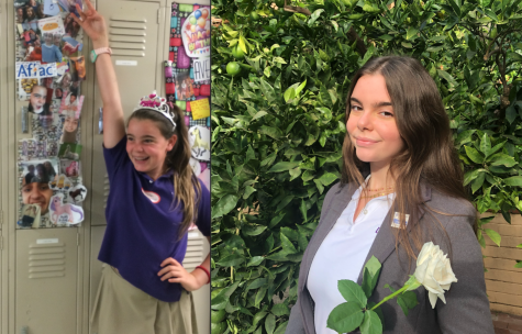 Graduating Editor-in-Chief Lola Lamberg stands in front of her locker in sixth grade (left) and poses for a photo in her senior blazer (right). There is a six year difference externally and internally between these two images, all thanks to Archer and the Oracle.