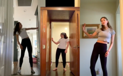 Dancers Cara Banks, Chloe Terani and Daisy Marmur perform in doorways in an edited piece streamed during the remote Festival of Dance. The doorways were used as framing to represent the isolation people have faced this past year.