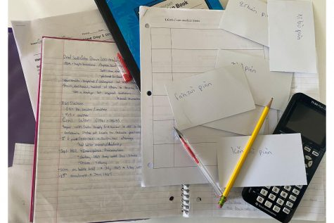 """Flash cards and study guides fill the desks of many students in preparation for finals. Upper schoolers are reflecting on the online format. From nervousness to relief, students highlight how they feel going into finals. """"I"""