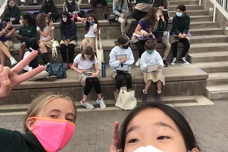 Hana Cho ('27) and her classmates enjoy their first in-person class meeting on Apr. 23. Since they are sixth graders and have just entered Archer, this grade level meeting was the first time any of the students interacted with each other in person.