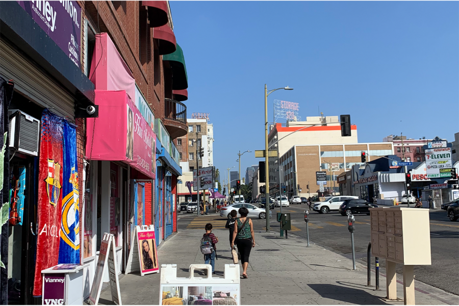 A mother and her two children walk away from a Larayas Bodega, a local grocery store. The grocery store is located in the middle of downtown Los Angeles and puts an emphasis on healthy nutritious food. According to Feeding America, inn 2020, an estimated 265,000,000 were living with food insecurity, partially due to lack of access to healthful food and affordable groceries.