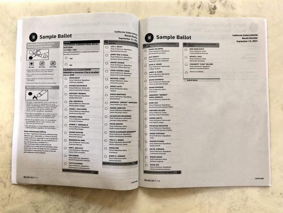The California sample voter ballot provides a sample of the September ballot question. The California recall election is being described as unconstitutional by legal scholars under the US Constitution and California State Constitution.
