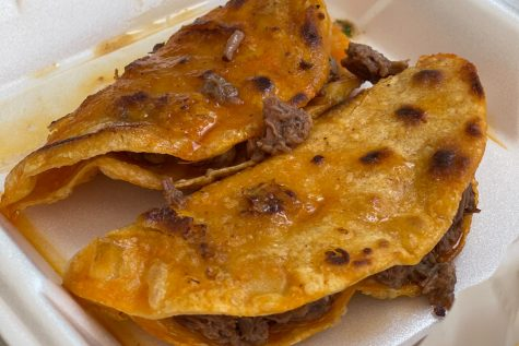 The traditional Quesabirria tacos with beef which can be dipped in consomé sauce. A staple item at Tacos y Birria La Unica food truck and the main event of the whole taco truck experience.