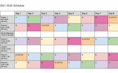 The new 2021-2022 schedule template features the new rotation systems, class timing and additional periods. A document with the template was sent out to the student body so they could plan out their classes and plans for the new FLX Block and 8-day rotation.
