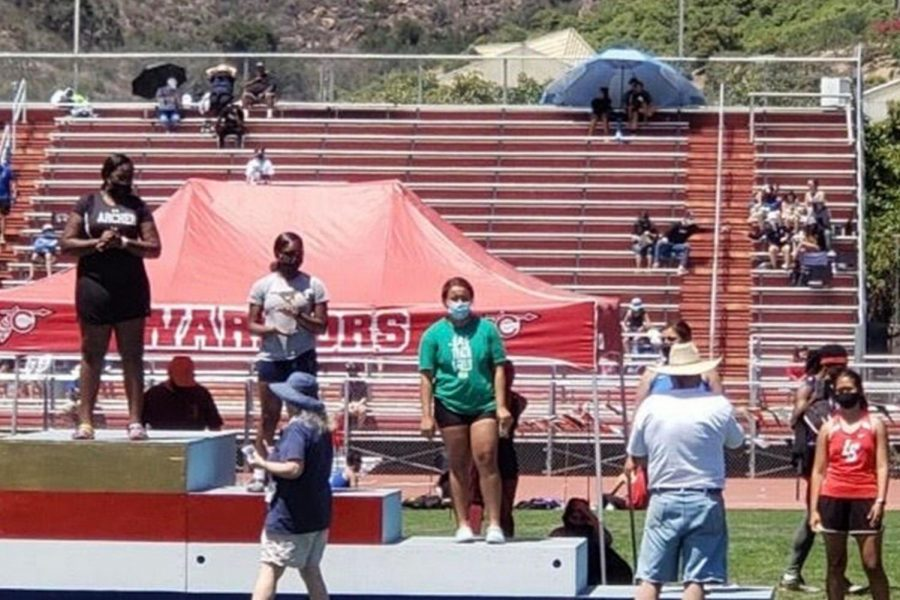 Junior Treasure Brown takes the number 1 spot on the podium after her victory in discus. I felt like I was on top of the world, Brown said. Brown along with sophomore Chloe Hayden, who placed 9th overall in the 400 meter, put Archer on the score board at the 2021 CIF Track and Field Finals.