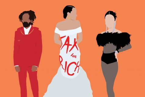 Pictured in the middle is Alexandria Ocasio-Cortez wearing a dress with the print reading, Tax the Rich, to the right is Kendall Jenner, and on the left is Kerby Jean Raymond. This years Met Gala highlighted the importance of using your voice to promote change.
